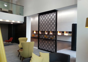 Decorative laser cut screens in DWELL pattern for hotels and restaurants