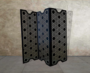 black fretwork laser cut metal panels
