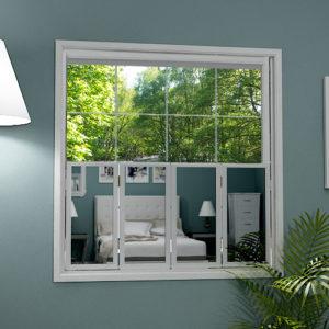 Cafe style mirror window shutters