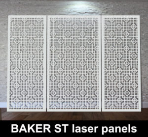 Baker Street laser cut metal white panels