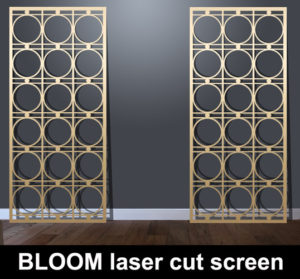 Bloom laser cut metal screens in brass or bronze effect