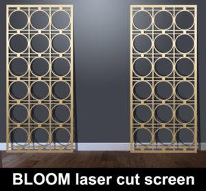 Bloom laser cut metal screens in brass or bronze effect