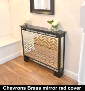 CHEVRONS BRASS mirrored radiator covers in laser cut metal