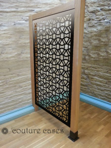CLOUT laser cut fretwork panels in oak frame