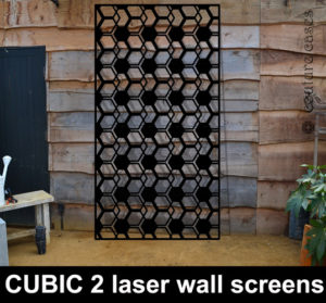 Geometric laser-cut-metal-panels and architectural screens