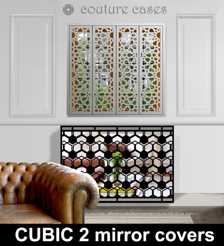 mirror radiator covers in geometric design  u2013 laser cut
