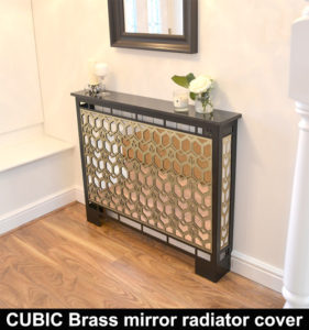 CUBIC BRASS MIRROR radiator cover in satin black WITH MARBLE TOP