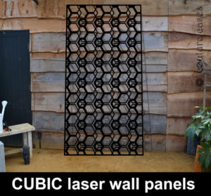 CUBIC laser cut modern decorative panels in metal and MDF for home and commercial interiors. Custom made laser cut screens and fretwork panels