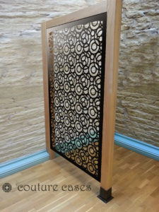 FARO CIRCLES laser cut fretwork panels in oak frame
