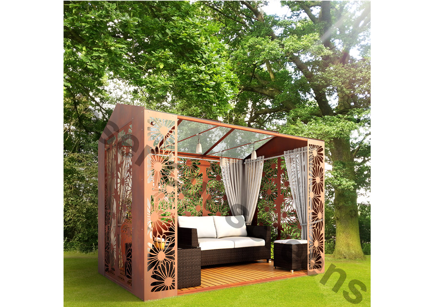 Modular modern gazebo for roof terraces and gardens