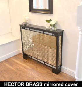HECTOR BRASS MIRROR radiator cover in satin black WITH MARBLE TOP