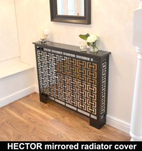 HECTOR MIRROR radiator cover in satin black WITH MARBLE TOP