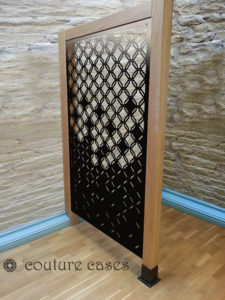 HEX CRUSH laser cut fretwork panels in oak frame
