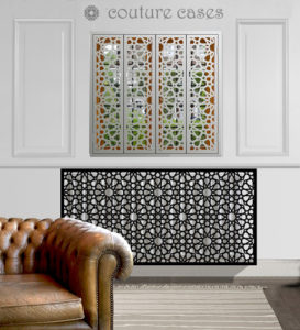 ISLAMIC black laser cut metal radiator covers and decorative islamic inspired window shutters