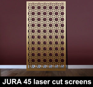 JURA 45 laser cut screens in brass and gold
