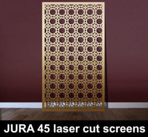 JURA 45 laser cut screens in brass and gold