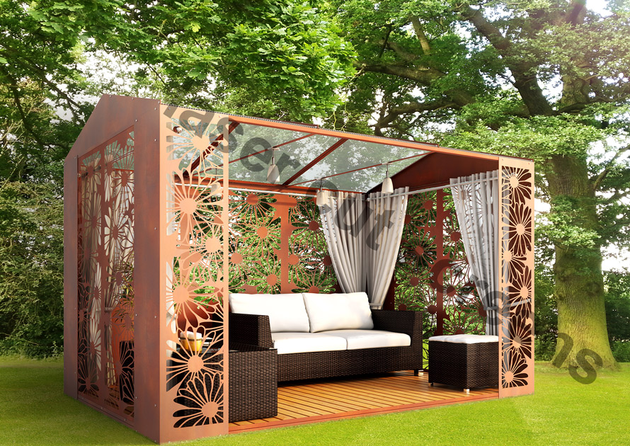 Laser cut metal garden buildings and custom made gazebos made in the UK
