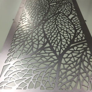 Leaf design laser cut metal panel