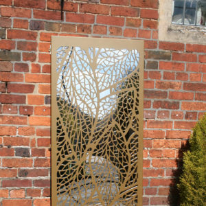 Leaf-pattern-outdoor-garden-mirror-in-gold-colour