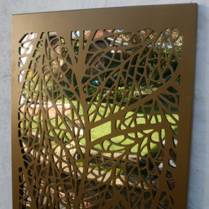 Leaf pattern outdoor garden screen in metallic gold