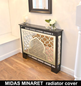 MIDAS MINARET BRASS MIRROR radiator cover in satin black WITH MARBLE TOP