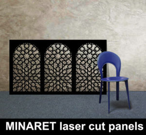 MINARET laser cut metal panels in satin black for moroccan and islamic interiors