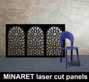MINARET laser cut metal panels in satin black for moroccan and islamic interiors