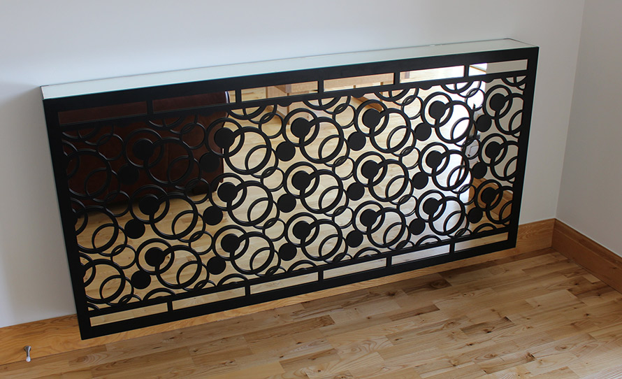 Mirror radiator covers in complex circles pattern