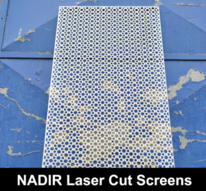 NADIR Laser cut metal screens in fine mesh perforated pattern on distressed blue metal