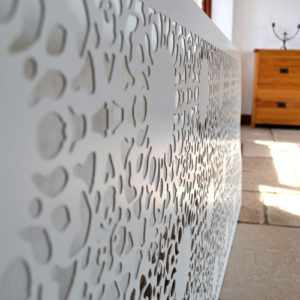 Nottingham Lace pattern modern radiator covers in satin white
