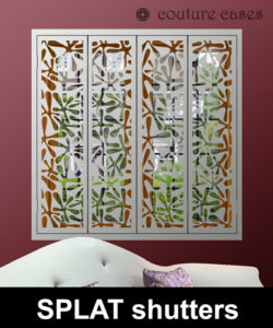 SPLAT laser cut metal and MDF shutters by Mirror Shutters