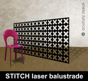 Laser cut metal balustrades in modern stitch pattern