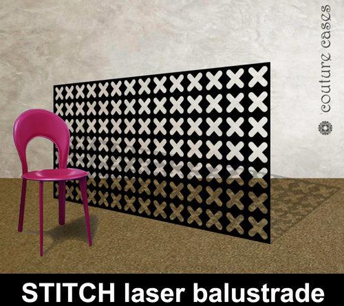 Laser cut metal balustrades in modern stitch pattern
