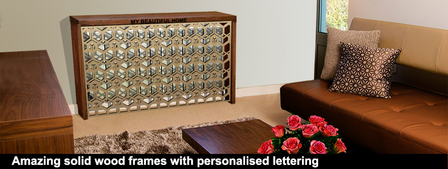 Solid wood radiator covers with CUBIC Brass fretwork panel