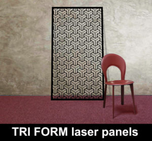 TRIFORM laser cut modern decorative panels in metal and MDF for home and commercial interiors