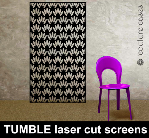 TUMBLE laser cut metal and MDF screens custom made to your
