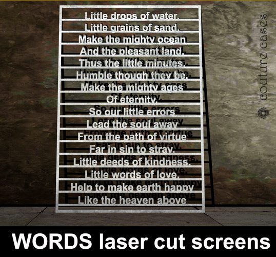 WORDS laser cut metal screens – laser cut screens for