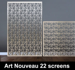 art nouveau 22 laser cut screens in stainless steel