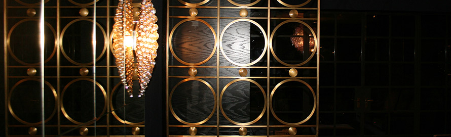 Brass room divider in Bloom design with Trilbey Gordon Interiors