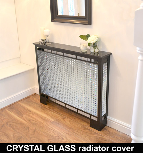 crystal glass beaded radiator cover with satin black frame