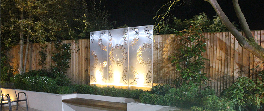 PORTO Triptych garden screens in stainless steel