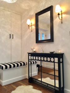Art DECO Mirror radiator covers in white modern hallway