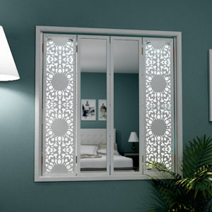 mirror window shutters in lace design