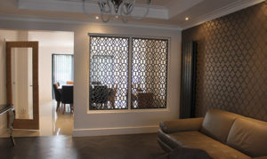 room partition in solo arabic pattern in antique bronze laser cut metal