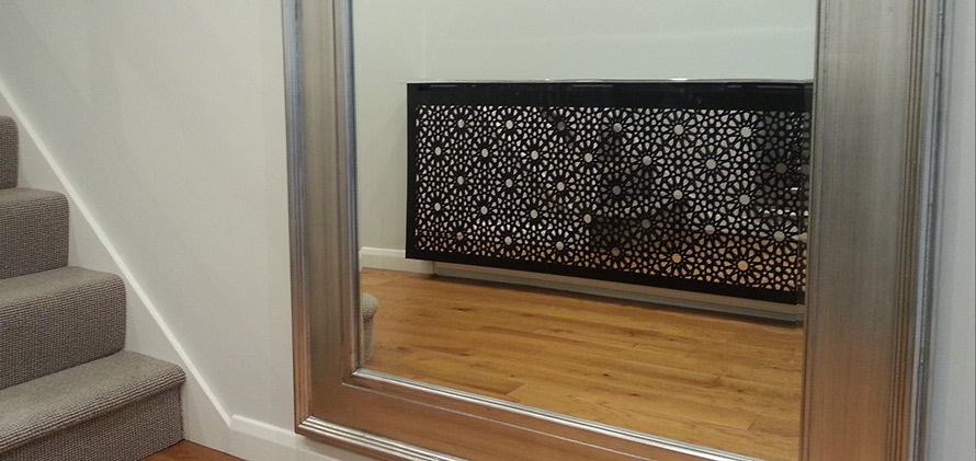 solo arabic radiator cover with mirror in modern interior
