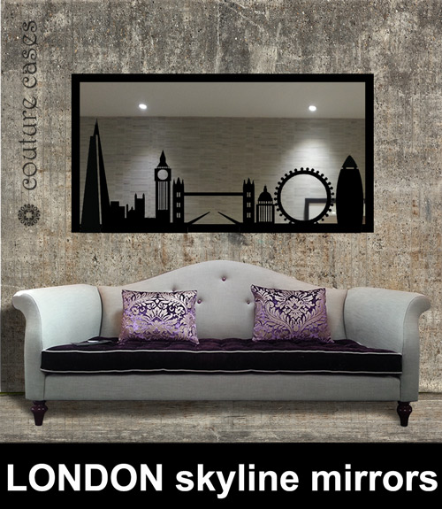 London skyline custom made mirrors laser cut screens for for Custom made mirrors