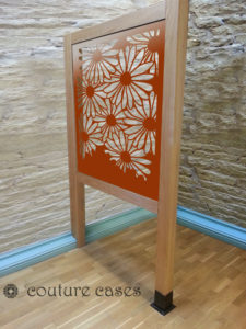 DAISIES laser cut fretwork screens in HALF HEIGHT oak wooden frame