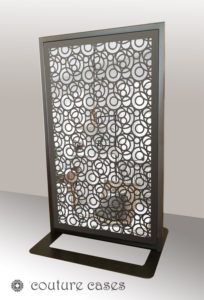 FARO freestanding laser cut mirror screens and room dividers