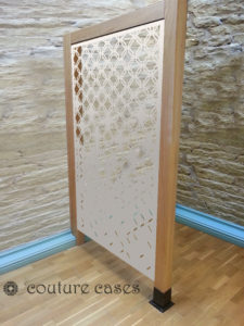 HEX CRUSH laser cut white fretwork panels in oak frame