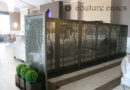 Decorative mirror screens creating flexible privacy areas